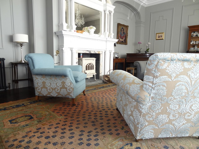 Two antique armchairs traditional living room other for Traditional armchairs for living room