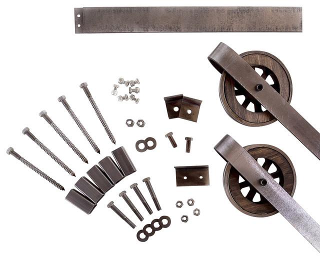 Rustic European Slide Steel Barn Wood Door Hardware Track Set, 10ft, 2  Roller