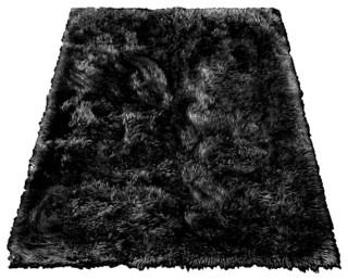 Rectangle Faux Fur Designer Sheepskin Rug, Black, 3'x5′