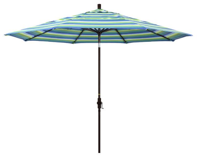 11&x27; Aluminum Umbrella Collar Tilt Bronze, Sunbrella, Seville Seaside.