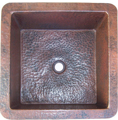 Squared Undermount Hammered Bathroom Copper Sink I.