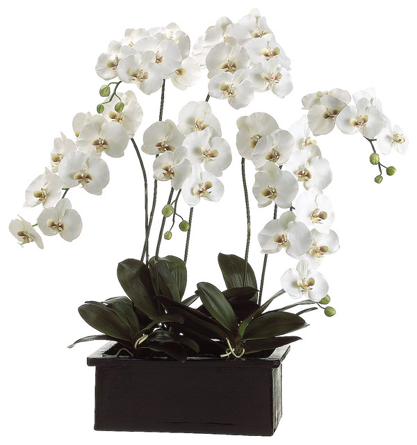 Lifelike White Phalaenopsis Orchid Arrangement in