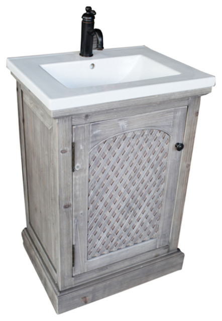 24 Quot Rustic Solid Fir Vanity With Ceramic Single Sink Gray