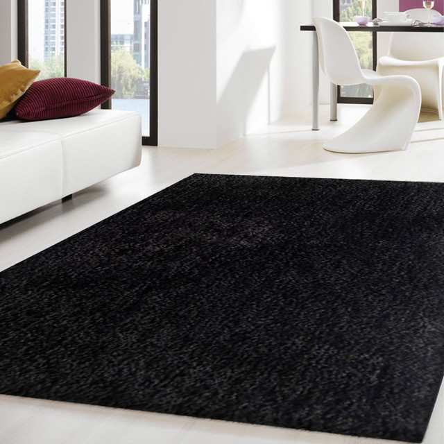 Brilliant 8X11 Solid Black Hand Tufted Shaggy Area Rug Made In Tibet Download Free Architecture Designs Sospemadebymaigaardcom