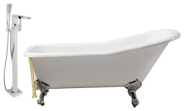"Faucet And Cast Iron Tub Set 66"" Rh5281ch-Gld-100."