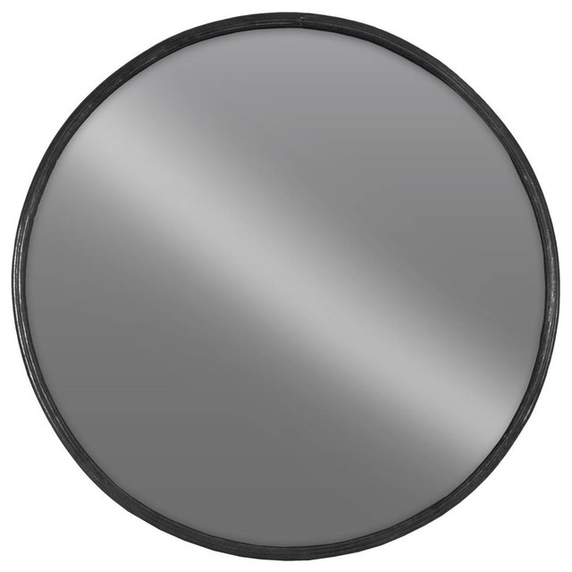 Large Round Wall Mirror, Tarnished Black Finish.