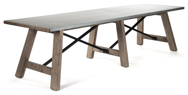 Charming Calistoga Industrial Rustic Powder Coat 12 Seat Metal Dining Table  Industrial Dining Tables