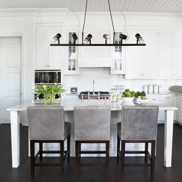 Black Track Lighting Kitchen: Linear Pendanting 6-Light Chandeliers Black Kitchen Island