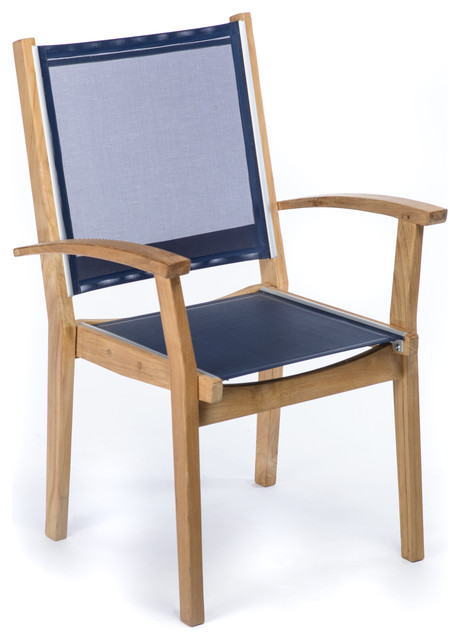 CO9 Design Bayhead Sling Stacking Armchair, Navy Contemporary Outdoor Dining  Chairs