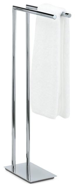 standing towel rack 2tier double bar chrome