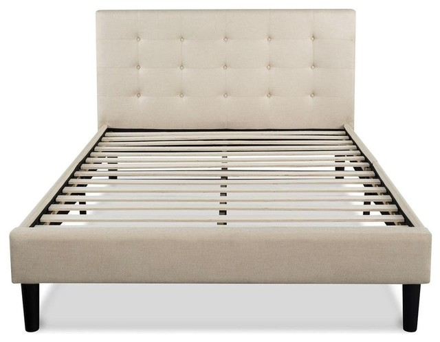 Full Size Platform Bed Frame With Taupe Button Tufted Upholstered