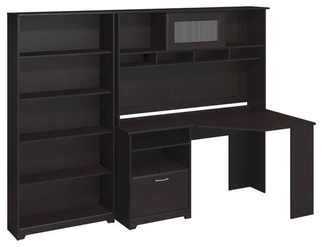 Bush Cabot Corner Desk With Hutch And 5 Shelf Bookcase In Espresso Oak Transitional