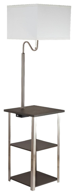 "58"" Tall ""Dru"" 3-Tiered Square Side Table Floor Lamp With Charging Station"