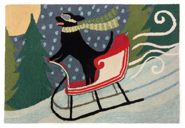 """Liora Manne Frontporch Sledding Dog Indoor/Outdoor Rug, Multi, 20""""x30"""""""