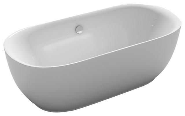 Kokss Lamone Freestanding Modern Seamless Acrylic Bathtub.