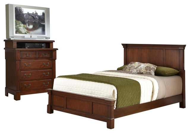 the aspen collection queen full headboard and media chest