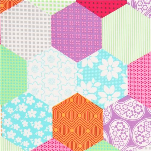 colourful honeycomb pattern patchwork fabric Michael Miller
