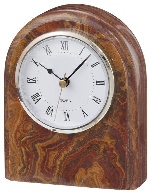 Polaris Collection Black and Gold Marble Desk Clock, Brown and Burgandy