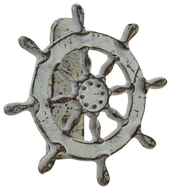 Weathered white nautical ship wheel cast iron door knocker for 10 downing street lion authentic foundry door knocker