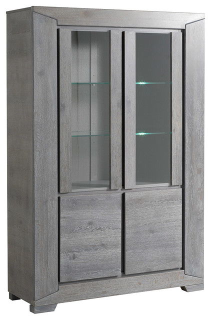 Titan Gray French Oak Glass Door Storage Cabinet Transitional