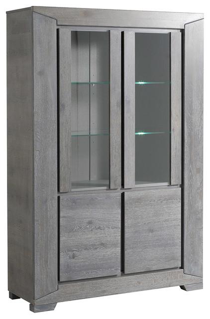 Titan Gray French Oak Glass Door Storage Cabinet contemporary-storage- cabinets - Titan Gray French Oak Glass Door Storage Cabinet - Contemporary