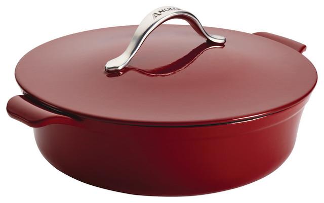 Vesta Cast Iron Cookware 5-Quart Round Covered Braiser, Paprika Red.