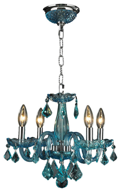 """Clarion 4-Light Chrome Finish Chandelier 16"""" x 12"""" Mini Small, Coral Blue"""