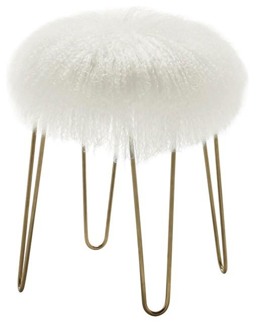 Sheepskin Stool With Hairpin Legs, White.
