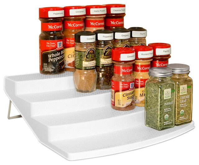 YouCopia SpiceSteps 4 Tier Cabinet Spice Rack Organizer, White Contemporary  Spice Jars