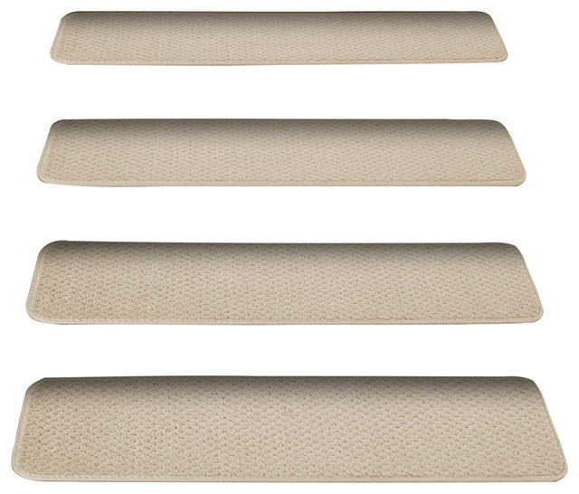 Set of 12 attachable carpet stair treads ivory cream for Jardin stair treads
