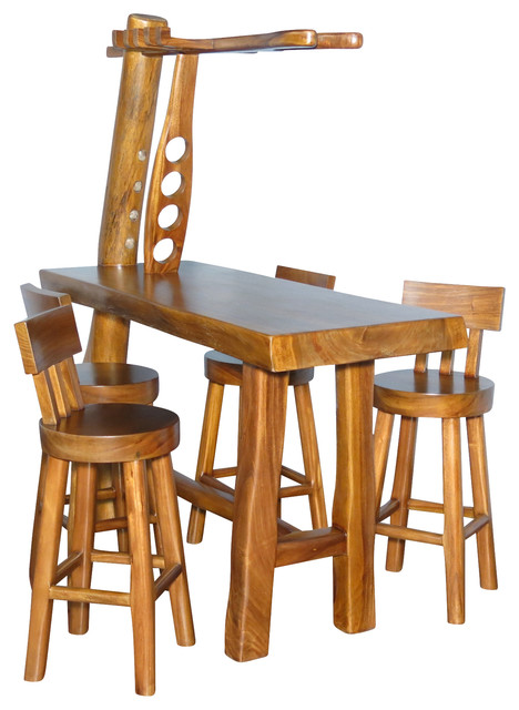 natural rustic 5 pc bar table set w 4 bar stools rustic indoor