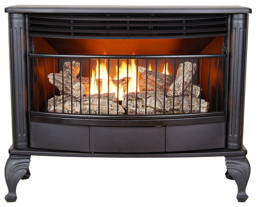 ProCom Ventless Dual Fuel Gas Stove - 25,000 BTU, T-Stat, Black