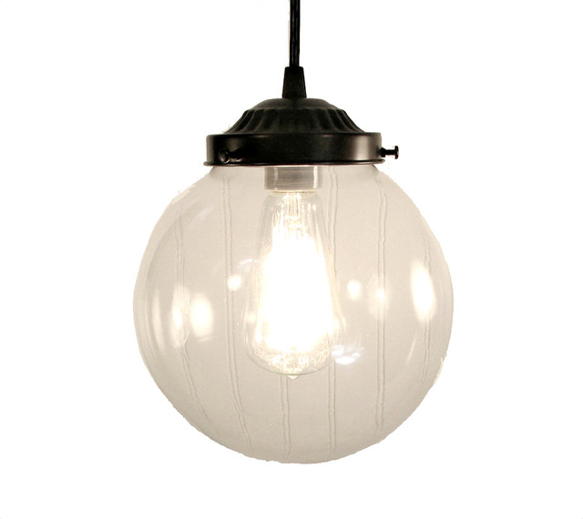 Pendant Light Large Clear Globe Oil Rubbed Bronze