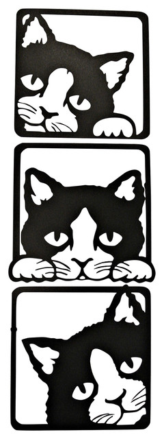 3 Peeking Cats Metal Wall Art, 3 Piece Set.
