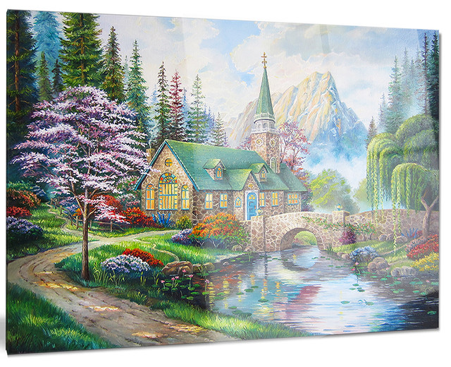 Church In Forest Oil Painting - Landscape Painting Glossy Metal Wall Art - 40x30.