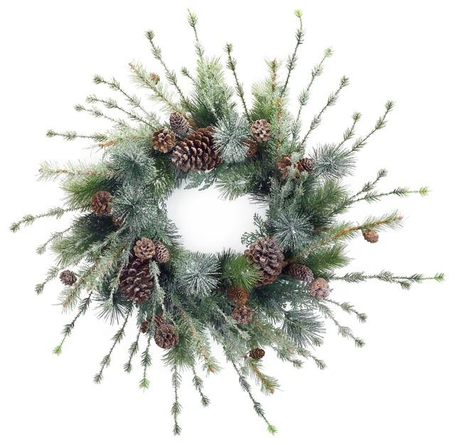 Iced Pine Wreath W/cones.