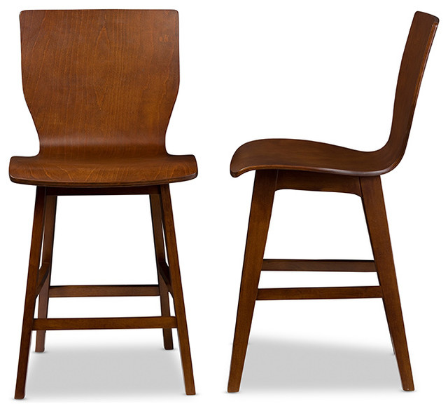 Elsa Bent Wood Counter Stool Walnut Dark Brown Set Of 2 midcentury-bar  sc 1 st  Houzz : bentwood kitchen stools - islam-shia.org