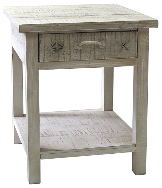 Great Seaside White Coastal End Table Beach Style Side Tables And End