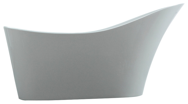 "Caracalla Freestanding Slipper Modern Bathtub 67"" White."