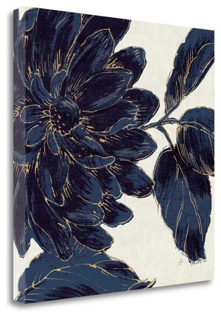 """indigo Garden I"" By Daphne Brissonnet, Giclee Print On Gallery Wrap Canvas."