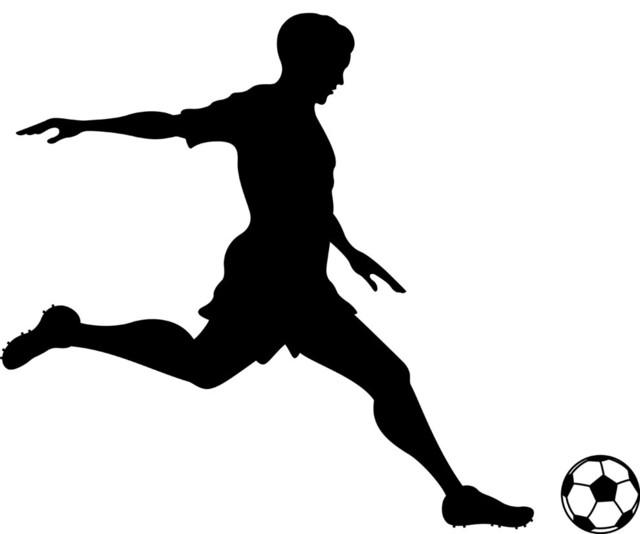 Soccer Player Kicking Wall Decal Modern Wall Decals