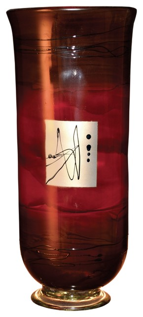 Red Gold Glass Hurricane Vase Contemporary Vases By Timeless