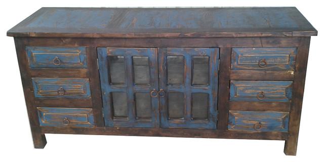 """Rustic Reclaimed Wood 6 Drawer Vanity, Navy Blue, 36""""x20 """"x32""""."""