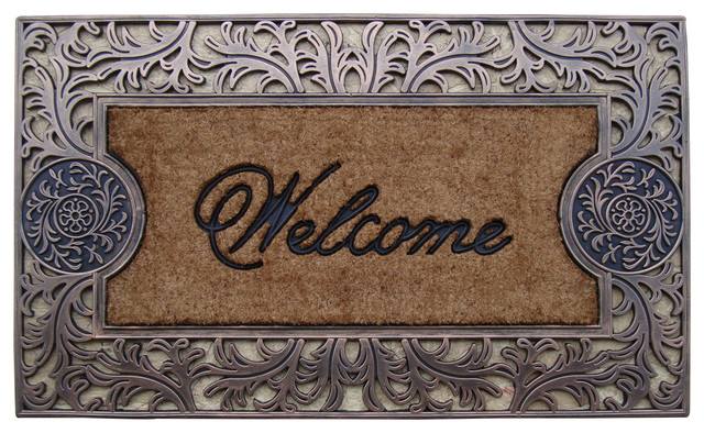 Rubber And Coir Molded Welcome Doormat, Large