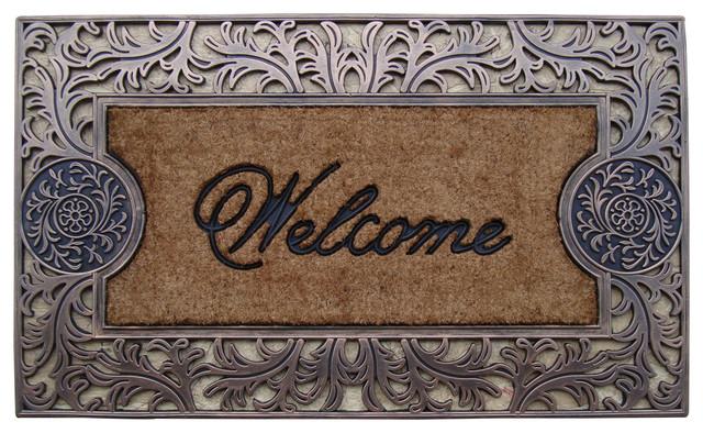 Rubber And Coir Molded Welcome Doormat, Large Modern Doormats