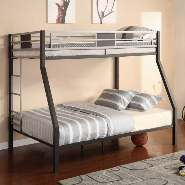 Built to withstand kid or teenage wear and tear, this contemporary bunk bed ...