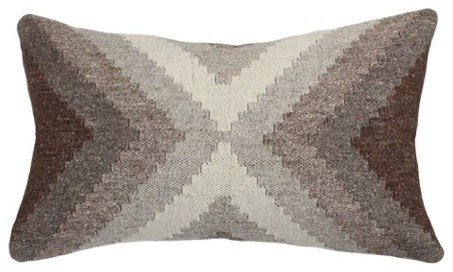 """Hand Loomed Wool Modern Beige Brown Pillow Cover, 12""""x20""""."""