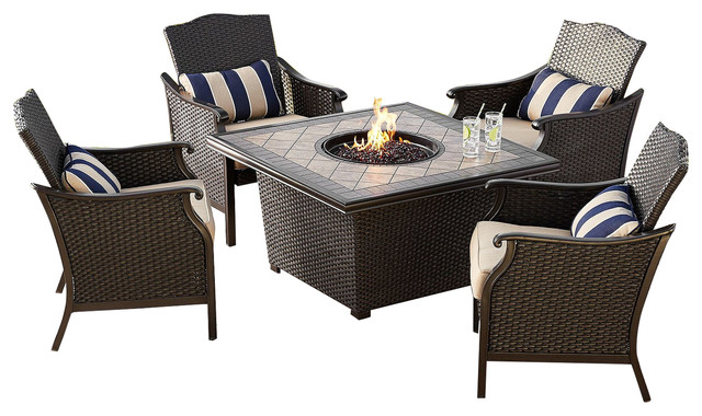 Member s Mark Agio Collection Heritage Sunbrella Fire Chat Set Fire Pit