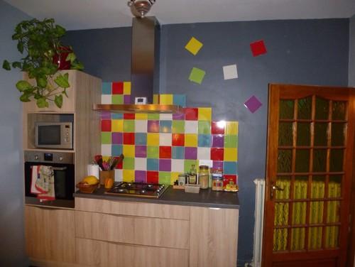 Carrelage mural multicolore cuisine for Carrelage multicolore cuisine