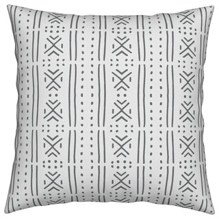 Line_Mudcloth Black Mudcloth Throw Pillow - Scandinavian - Outdoor Cushions And Pillows - by ...